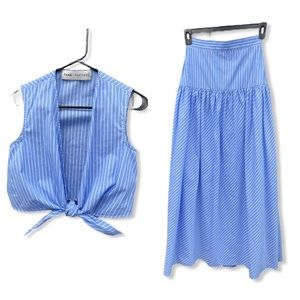 Fame And Partners Cotton Skirt Set Blue